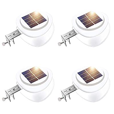 Solar Gutter Lights, Outdoor 9 LED Fence Light Waterproof Wall Lamps for Eaves Garden Landscape Pathway