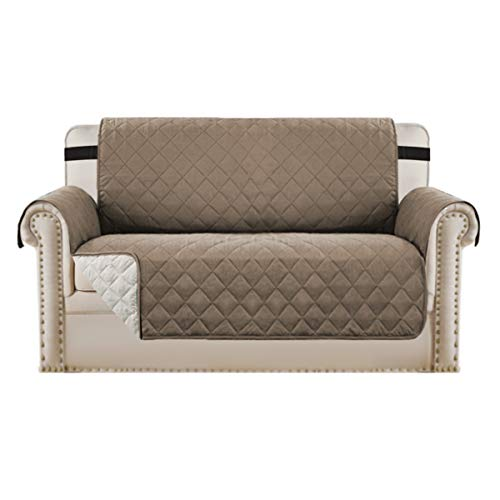 BellaHills Waterproof Sofa Protectors 2 Seater from Pets/Dogs Couch Covers Love Seat Cover Non-Slip Furniture Covers for Sofa with Strap, Soft Thick Quilted Reversible (2 Seater: Taupe/Beige)