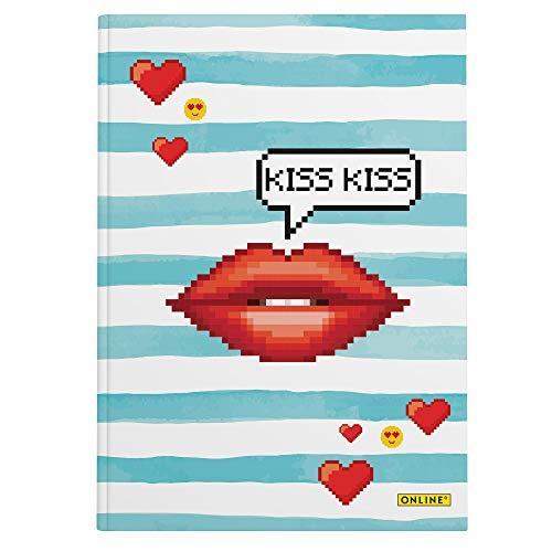 Online 07738/6 - Kladde Kiss DIN A5, geruit, 96 vellen, 80 g/m2, 1 stuk
