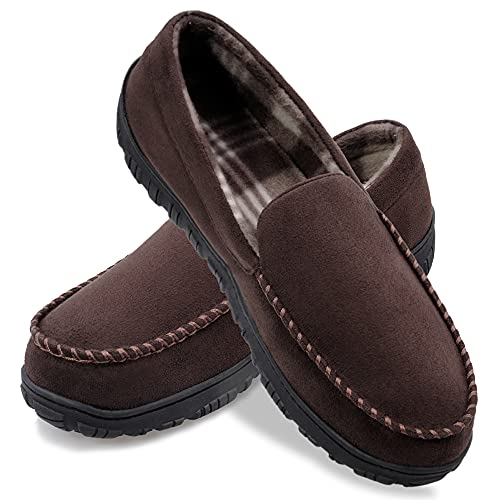 shoeslocker Men Slippers Microsuede Moccasin Slip on Memory Foam House Shoes Brown Size 10