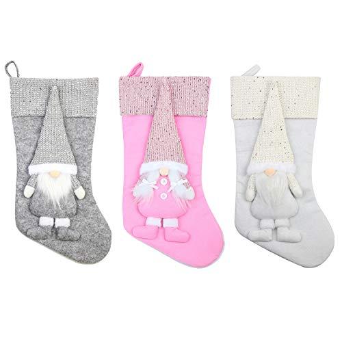 Moonet 18inch Christmas Stocking,White & Grey & Pink, 3D Xmas Faceless Gnome Santa Doll Non-Woven Stockings Christmas Decoration 45cm 3pcs
