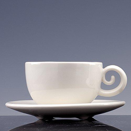 Cuvette cuivre à thé et à café Porcelaine émaillée blanche ; Lot de 2 tasses avec PIATTO. fait à la main tasses design !