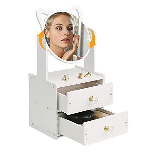 Organizador de Maquillaje Espejo Giratorio de 360 Grados y 2 Cajones, Gran Capacidad, Resistente al Agua y al Polvo, Organizador de Escritorio - Cosméticos Lápiz Labial Joyas
