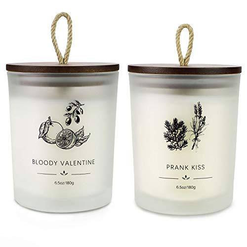 Juego de regalo de vela perfumada, vela perfumada de cera de soja (hasta 80 horas), 13 oz, alivio del estrés y aromaterapia para mujeres, regalo de San Valentín, lavanda y naranja sanguina.