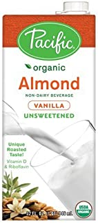 Pacific Foods Organic Almond Non-Dairy Beverage, Unsweetened Vanilla, 32-Ounce, (Pack of 6)