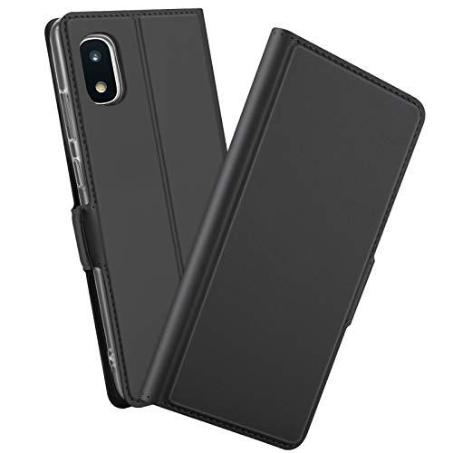 【PCATEC】Galaxy A21 SC-42A 手帳型ケース カバー 定期入れ ポケット シンプル スマホケース (Galaxy A21 SC-42A, ブラック)