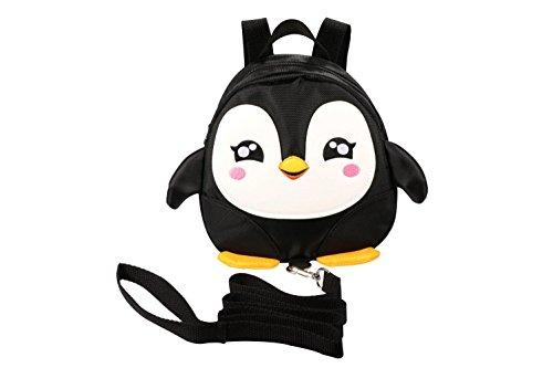 WINSHEA Baby Kind Kleinkind Walking Sicherheitsgeschirr Rucksack Kind Kinder Riemen Schulter Rucksack Tasche mit Zügeln Leine Gürtel (Schwarz-Pinguin)