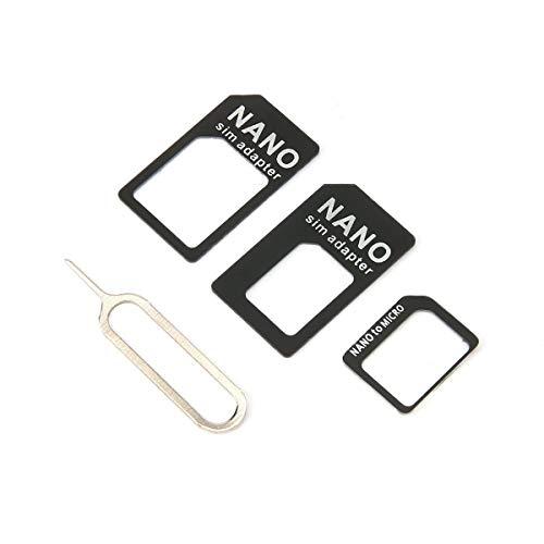 Greatangle 3 en 1 para Adaptador Nano Sim y para Adaptador Micro Sim y para Adaptador Nano a Micro con Aguja para Dispositivos móviles Negro