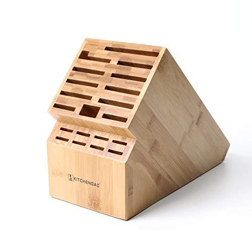 KITCHENDAO 20-Schlitz-Messerblock, umweltfreundlicher Bambusmesserhalter ohne Messer - Deluxe-Arbeitsmesser mit Mehreren großen Klingen, breitere Schlitze für einfacheren Halt