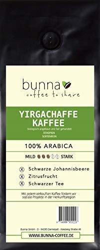 BUNNA COFFEE - PREMIUM KAFFEE - YIRGACHAFFE, 100 % HANDVERLESENE FAIRTRADE ARABICA BOHNEN AUS ÄTHIOPIEN, FRISCH GERÖSTET,FRUCHTIGER GESCHMACK STÄRKE 3, 250g