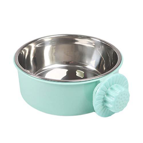 Balacoo Hundekiste Wasserschüssel-Abnehmbare Edelstahl Coop Cup Hängen Pet Cage Zwinger Schüssel Wasser Futterautomat für Hunde Katzen Kaninchen-Grün (Mittlere Größe)