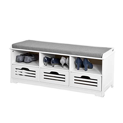 SoBuy FSR36-W Schuhtruhe Sitzbank mit 3 Körben und Ablagen Sitzkommode mit Sitzkissen weiß Produktmaße: BHT ca.: 105x43x35cm (Siehe Abbildung)