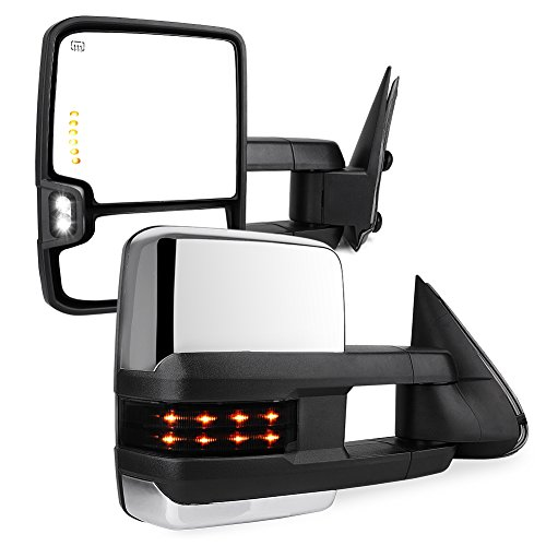 YITAMOTOR Compatible with GMC Power Heated LED Signal Reverse Light Tow Mirrors, Replacement for Chevy Silverado/GMC Sierra/Cadillac Escalade 2003-2006,Chevy Silverado/GMC Sierra 2007 Classic Model