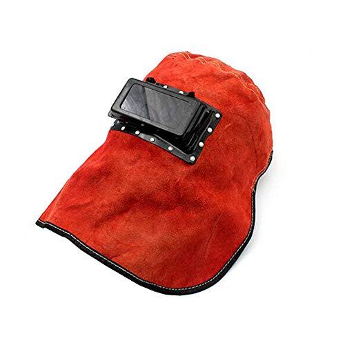 LAIABOR Ajustable Casco Soldadura Máscara De Soldadura De Cuero Puro Gorra De Soldadura Puro Antichispa,Red