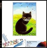 DIY ペイント番号キット かわいい猫の動物 DIY 油絵 子供 大人 初心者用 大人 子供 アートクラフト 自宅 壁 装飾 40x50cmフレームレス