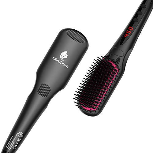 MiroPure Ionic Hair Straightener Brush - Hair Straightener with Built-in Comb, 30s Crush Heated & 16 Temp Settings, Great for All Hair Types, Travel Friendly, Regular Size (Black)