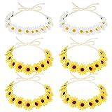 Frcolor 6 stk Sonnenblume Stirnband Blumen Krone Haarband Haarkranz Kopfstück für Hippie Party Hochzeitsfestivals