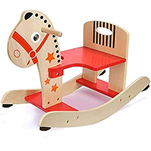 Rocking Horse, Wooden Rocker for 1-3 Year Old, Kid Rocking Animal for Boy&Girl, Child Ride On Toy, Nursery Rocking Chair for Outdoor&Indoor, Birthday Gift