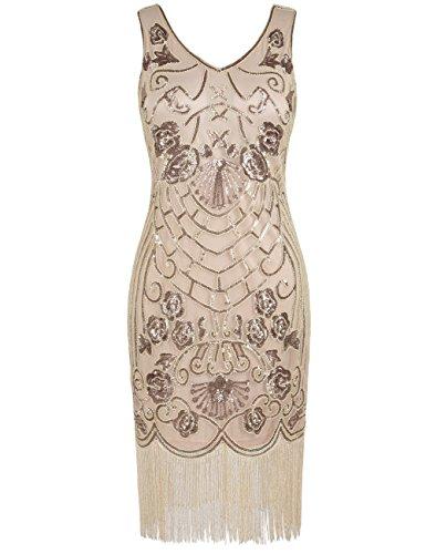 PrettyGuide Damen Charleston Kleid Vintage Pailletten 1920er Gatsby Cocktailkleid XL Champagner Beige