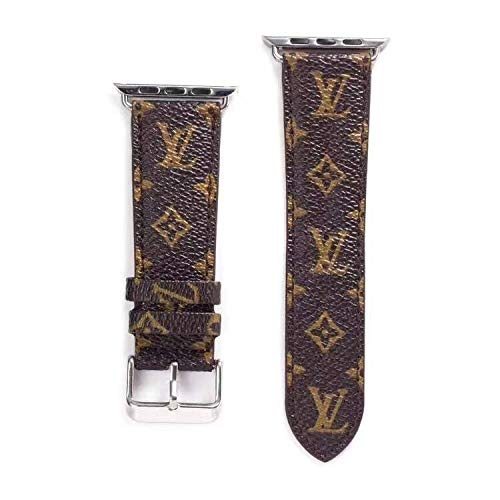 Watch Band 42mm 44mm Classic Elegant PU Leather iWatch Sport Series 5 Series 4 3 2 1 Strap Replacement for Women Men Metal Buckle 42 / 44MM (Small Monogram)