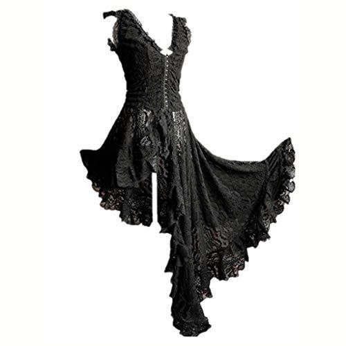 Allence Vintage Frau Kleid Abend Cocktailkleid Lolita Kleid Kurzarm und quadratischen Kragen gekräuselten Schichten Gothic Lolita Kleid