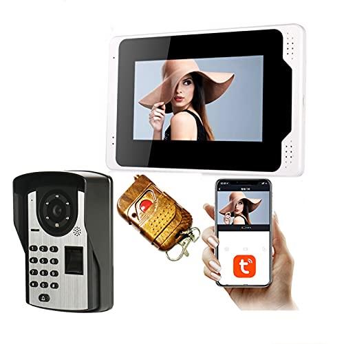Tuya Smart Timbre con video WiFi, Monitor de 7 pulgadas + Cámara de seguridad con visión nocturna 1080P, Videoportero, Intercomunicador, Desbloqueo de la APP de contraseña de huella digital