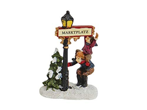meindekoartikel Weihnachtliche Miniatur-Figuren Winterwelt-Szene aus Poly – Laterne Marktplatz mit Kindern Höhe 9 cm