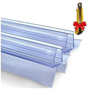 2x Junta de goma de repuesto para cabina de ducha 2x120 cm + CUCHILLO GRATIS   Anti pulverización   Junta para puerta de ducha de vidrio de 6/7/8 mm de espesor   Hidrófugo