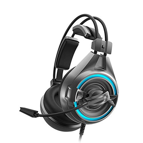 PXYUAN Casques de jeu, Sur l'oreille d'annulation de bruit de jeu Casque avec son 7.1 Surround, u0026 RGB LED Lumière pour Mac, ordinateur portable, Nintendo Switch