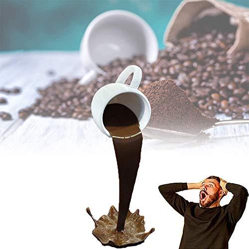 KNAGHT Floating Cup Sculpture Floating Spilling Coffee Cup Sculpture, Floating Cup Sculpture Pouring Liquid Coffee Mug, 3D Suspended Coffee Mug Cup Resin Art Decor (B)