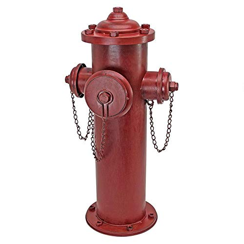 Design Toscano DC122012 Fire Hydrant Statue Puppy Pee Post and Pet Storage Container, Large, full color