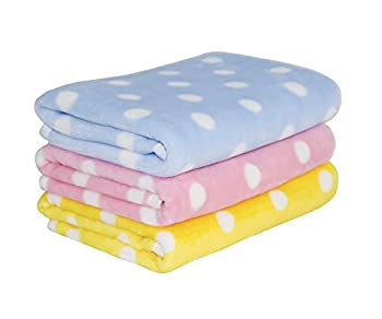 Tamu style Puppy Blankets for Small Dogs and Cats  27½ inch x 19½ inch  Soft Dog Blanket for Crate,Couch,Car,Bed  Pink,Blue,and Yellow 3Pack