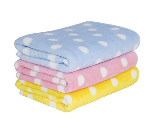 Lovely Baby Tamu Style Fleece Dog Blanket & Soft Puppy Cat Blanket for Car,Couch,Bed & Pink, Blue and Yellow 3 Pack 3 Colors