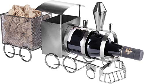 BRUBAKER Portabotellas de Vino Locomotora - Escultura de Metal Soporte para Botellas - Figura de Metal de 42 cm Regalo de Vino para Maquinistas y Aficionados Al Ferrocarril