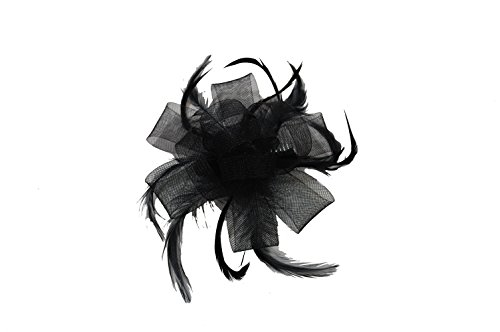 crystal innovations REF 7787 Black Looped Net Ribbon and Feather Fascinator on a clear comb. by Top Brand