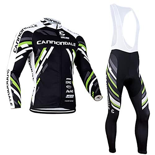 HOMTOL Abbigliamento Ciclismo da Uomo, Completo Ciclismo Lunga+Pantaloni Lunghi, Traspirante Cuscino Gel 3D, Ciclismo Professionale per Ciclista Bici da Corsa Città (2, L)