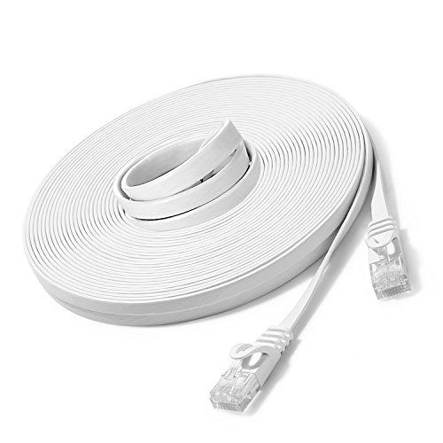 JBSTK 20m - Flachkabel CAT6 | Weiss- 1 Stück | 10/100/1000 Mbit/s | Gigabit LAN Netzwerkkabel