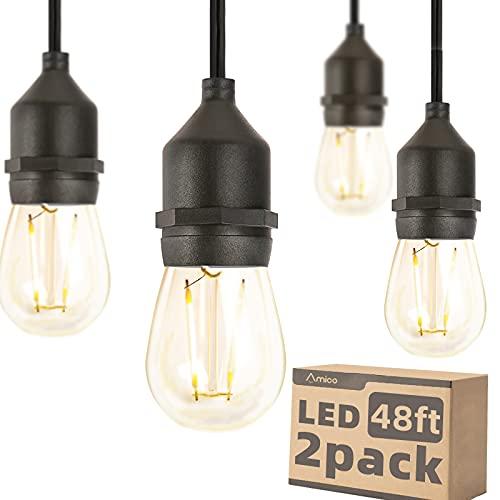 Amico LED-Lichterkette für den Außenbereich, 2 W, dimmbar, Edison-Vintage-Kunststoff-Glühbirnen, kommerziell, wetterfest, UL-gelistet, robust, dekorativ, für Terrasse, Café, Markt, Veranda, 2 Stück