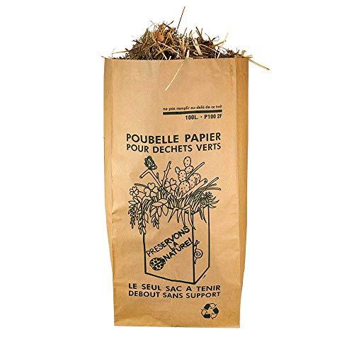 lot 10 Sacs 100 Litres SOLIDE (2 FEUILLES) déchets verts et organiques. Papier kraft biodégradable compatible compost, sac jardin ramassage herbe, végétal compostable, tous dechets