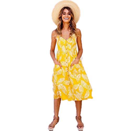 Vestido deVerano de MujerCasual Vestido deVeranoVintage Midi Button Backless Beach Polka Dot Vestido Floral a Rayas Mujer