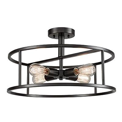 EUL Industrial Semi Flush Mount Ceiling Light 4-Light Metal Drum Chandelier Lighting Fixture Oil Rubbed Bronze