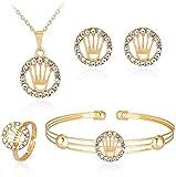 OlovdHit Jewelry-Gifts-Necklaces Collar Exquisito Juego De Regalo De Novia De Corona De Diamantes De Aleación