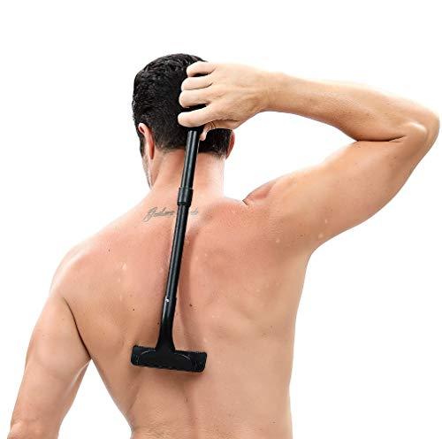 Dos rasoir, DIY Dos Cheveux rasoir & Body Rasoir avec poignée réglable – Sécurité de 50,8 cm et sans douleur Dos rasoirs, dos épilation pour hommes, parfait pour une utilisation à sec et humide