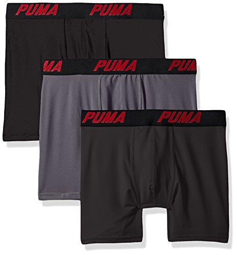 PUMA Men's Volume Boxer Brief (3-Pack), Black/Grey, Extra Large