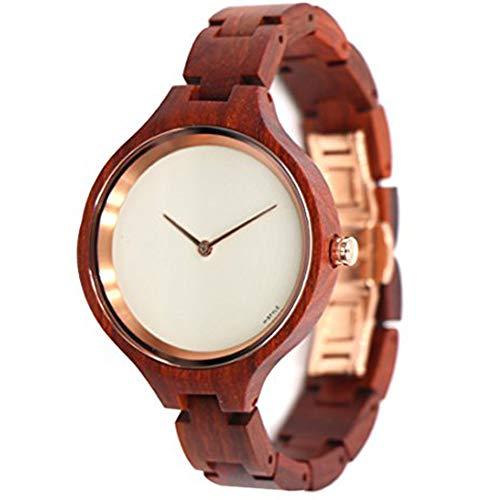 Hstyle Mujeres Hechas a Mano Reloj de Madera Natural para Mujer de Palo de Rosa Reloj de Pulsera con Reloj de Cristal de Zafiro