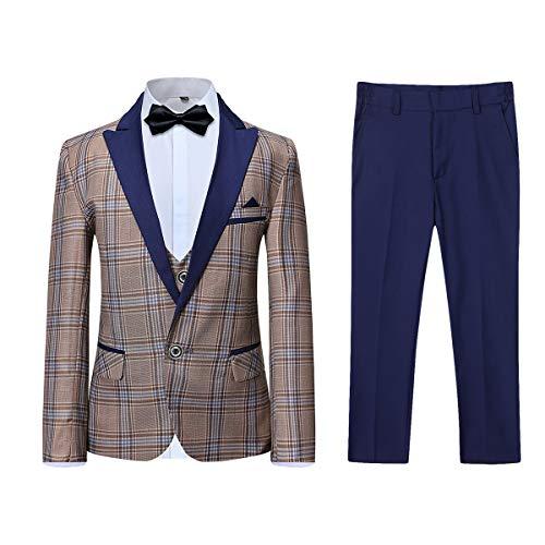 Men's Colored Striped 3 Piece Suit Slim Fit Tuxedo Blazer Jacket Pants Vest Set (Yellow-DB, XXX-Large)
