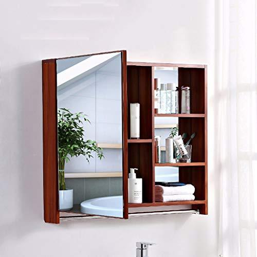 J+N Modernes Design-spiegelschrank Bad Einzeltür 68cm Hoch Roteiche Spiegelschrank Badezimmer Wasserdicht Kosmetik Rasierer Bad Spiegelschrank