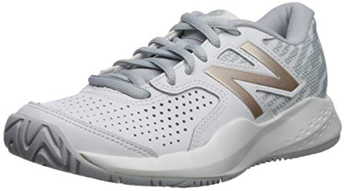 New Balance Women's 696 V3 Hard Court Tennis Shoe, White/Rosegold, 11 D US