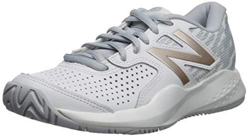 New Balance Women's 696 V3 Hard Court Tennis Shoe, White/Rosegold, 11 D US