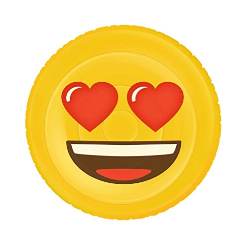 Emoji Inflable Flotador Corazón de la Cara XL, piscina y playa, Ø 140 cm